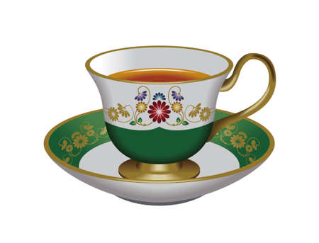 oolong: Teacup and saucer,green Stock Photo