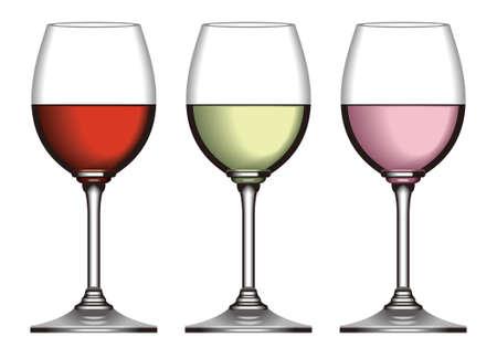 Wijn glas, rode wijn en witte wijn en rose wijn Stockfoto