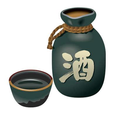 일본 술, 일본 쌀 와인, 식기 스톡 콘텐츠
