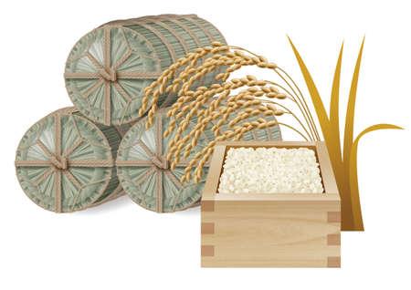 Straw bolsa de arroz y arroz y oído del arroz Foto de archivo - 31526572