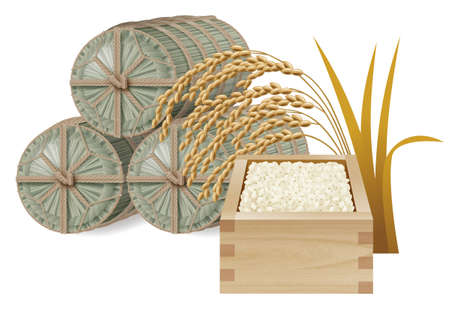 Straw rice bag and rice and  ear of rice photo