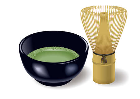 Tea whisk and Teacup,Tea ceremony,cha-no-yu,Japanese culture.