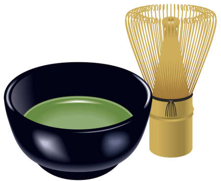 Tea whisk and Teacup,Tea ceremony,cha-no-yu,Japanese culture. 免版税图像 - 31533301