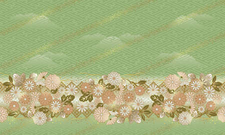 Japanese style, Pattern of the flower, The pattern can be connected. Banco de Imagens - 31539164