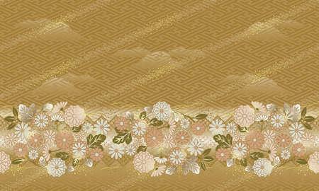 일본식, 꽃 무늬, 무늬 연결 가능. 스톡 콘텐츠
