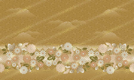 Japanese style, Pattern of the flower, The pattern can be connected.