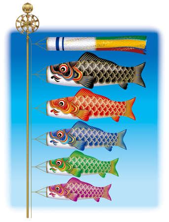 childrens day: Carp streamers,Japanese Childrens Day, May 5.