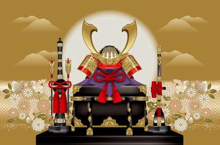 息子、背景には、日本の武士鎧。