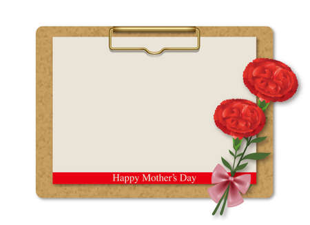 signboard form: Message board and Carnations. Happy Mothers Day. Stock Photo