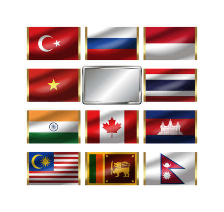 Flags of the world. Please be combining the national flag on metal plate. photo