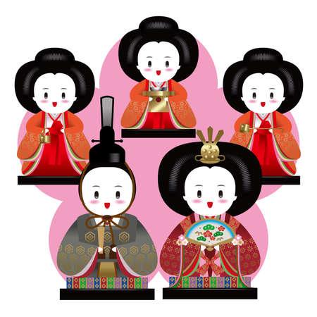 illust: Japanese Dolls Festival, March 3. Stock Photo