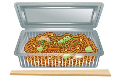 topped: Chow mein. Topped with green laver. Stock Photo
