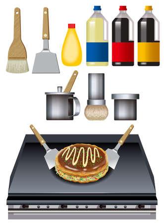 illust: Okonomiyaki.Japanese style  . Tools for cooking.