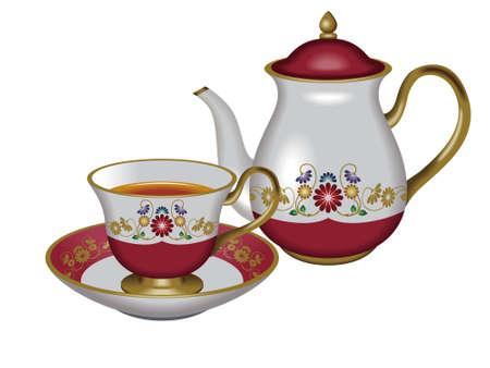 pot decoration: Teacup and teapot