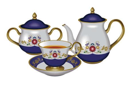 oolong: Teacup, teapot and sugar pot