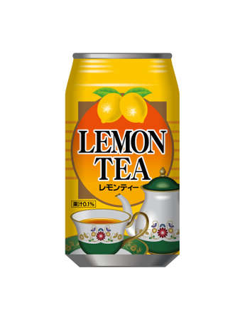 Can of lemon tea. Banco de Imagens - 32096501