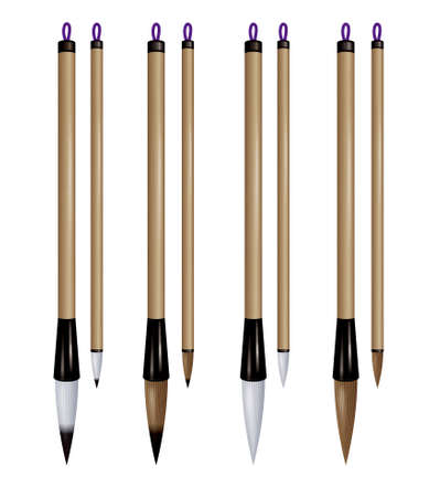 Asian writing brushes. Imagens