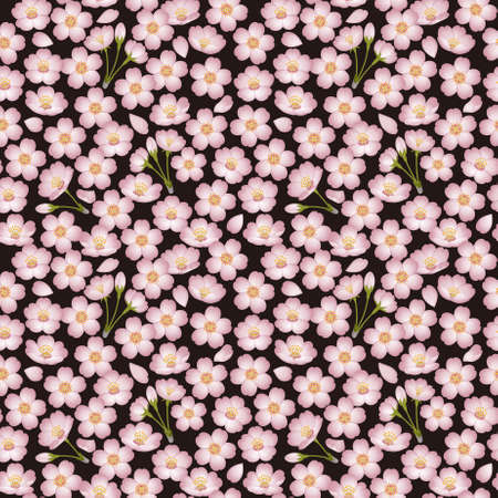 Background of cherry blossoms. Seamless pattern. photo
