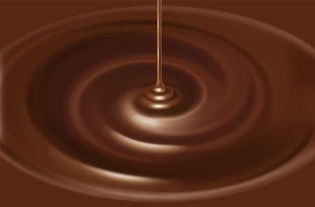 Illustrazione della sorgente cioccolato.  Liquido.