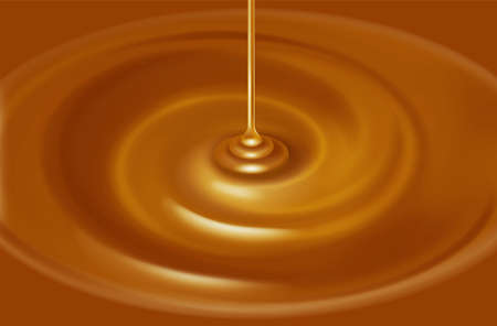 キャラメル ソースのイラスト。液体。