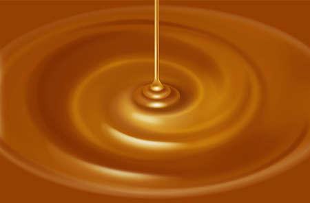 Ilustracja źródła karmelowym. / Ciekły. Zdjęcie Seryjne