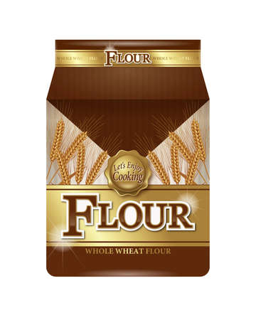 grain storage: Illustration of flour package. White background.
