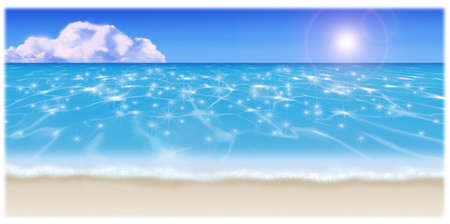 sandy: Illustration of the sandy beach. And Cobalt blue. Stock Photo