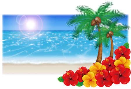 砂浜のイラスト。ヤシの木とハイビスカス。