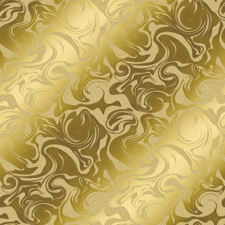 大理石パターンの背景。 ゴールド色です。シームレス パターン。