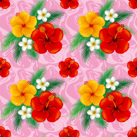 Wallpaper of hibiscus. Illustration.The seamless pattern