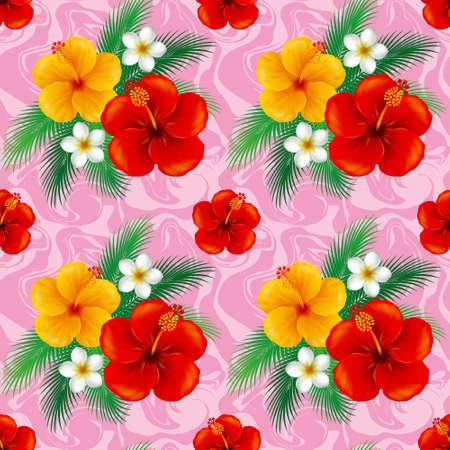midsummer: Wallpaper of hibiscus. Illustration.The seamless pattern