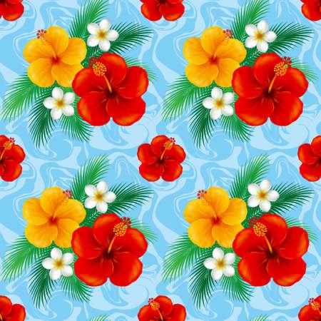 yukata: Wallpaper of hibiscus. Illustration.The seamless pattern