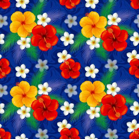 okinawa: Wallpaper of hibiscus. Illustration.The seamless pattern