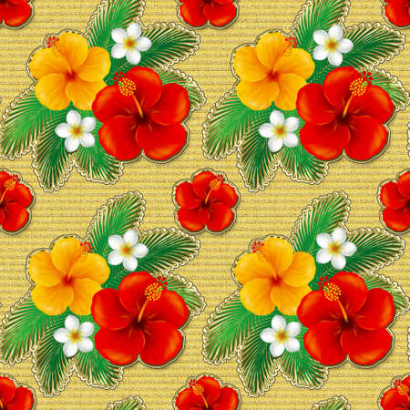 cute wallpaper: Wallpaper of hibiscus. Illustration.The seamless pattern
