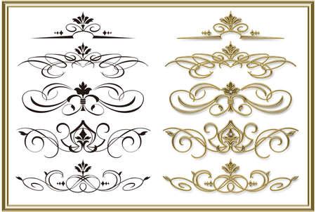 Illustration of decoration curve. Golden frame.