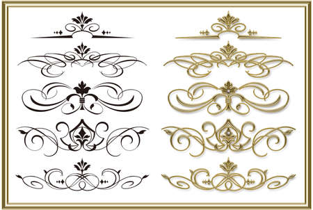 Illustration of decoration curve. Golden frame.