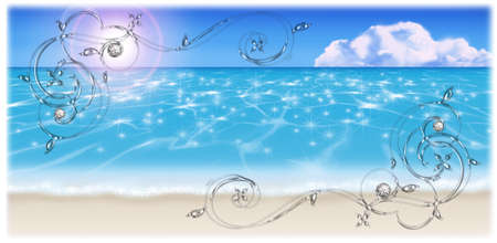 sandy: Illustration of the sandy beach.  Decoration frame and background.