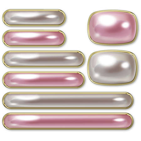 Illustration of pearl buttons. And Button sets of various sizes.
