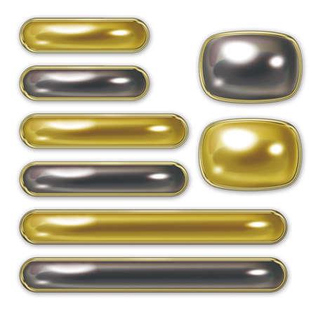 服のボタンのイラスト。様々 なサイズのボタンを設定します。金と黒。 写真素材
