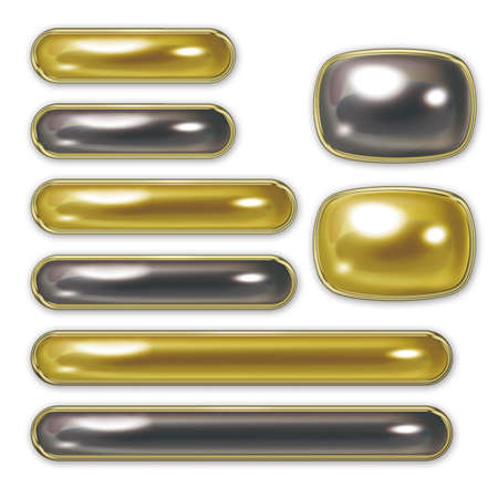 Illustration of pearl buttons. And Button sets of various sizes. Gold and black. Stockfoto