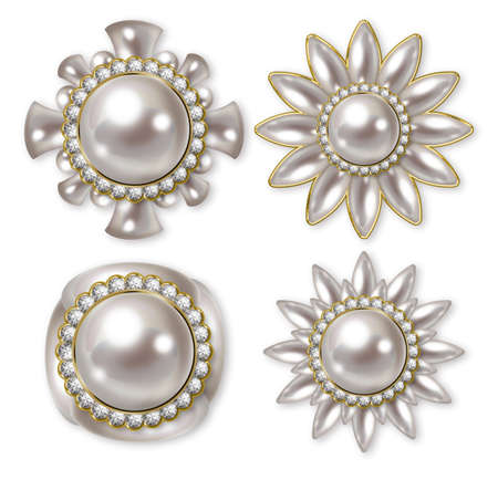 cuffs: Illustration of pearl buttons. White...