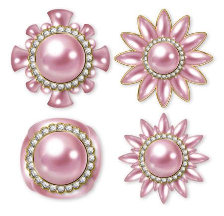 服のボタンのイラスト。ピンク。