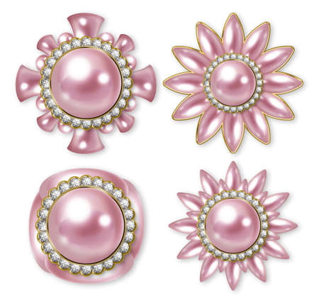 pink banner: Illustration of pearl buttons. Pink.