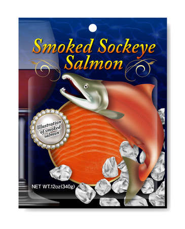 Illustration of smoked salmon. And Snacks of the liquor.