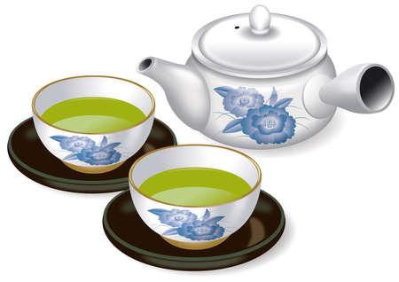 Illustration of Japanese tea set. And Green tea.