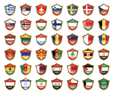 Illustration of the national flag. Badge collection. Stock Photo
