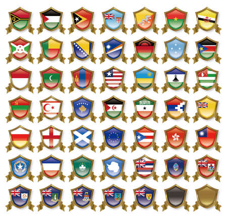 all european flags: Illustration of the national flag. Badge collection. Stock Photo