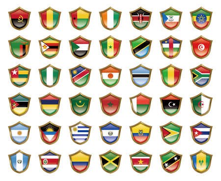 guyana: Illustration of the national flag. Badge collection. Stock Photo