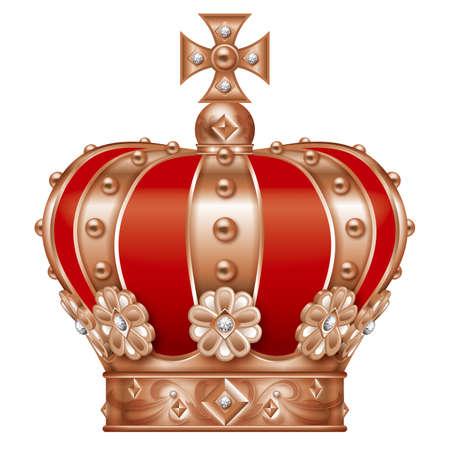 王冠のイラスト。ブロンズ。
