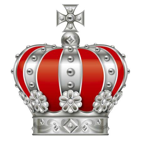 王冠のイラスト。銀。